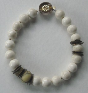White Agate Flame Bead