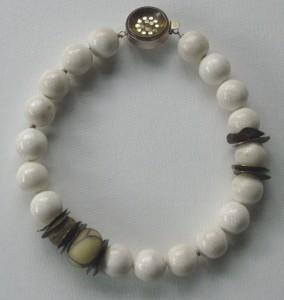 White Agate Flame Bead